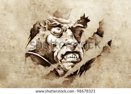 Sketch of tattoo art, vampire in the night - stock photo