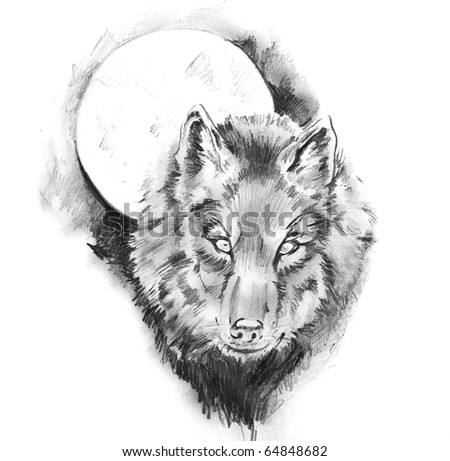 Wolf Tattoo Sketch Sketch of Tattoo Art Wolf