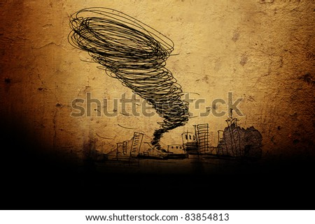 sketch of the hurricane drawn by pencil on grunge background - stock photo