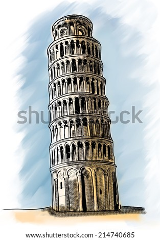 sketch of the leaning tower, pisa, italy