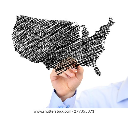 Sketch Of Usa Map