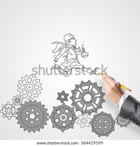 Sketch of woman doctor - stock photo