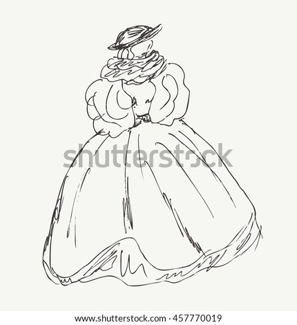 Sketch of woman in retro historical clothes. Lady in old vintage ball dress. Hand drawn modern woman silhouette - stock photo