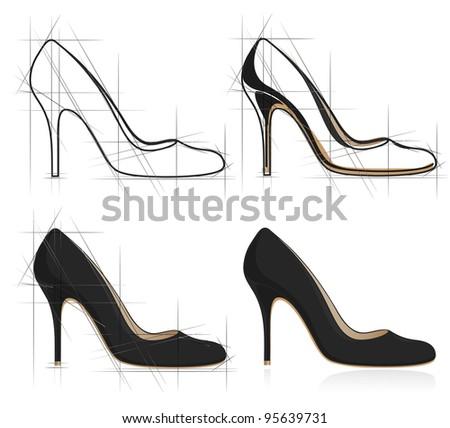 Sketch of women shoe. - stock photo