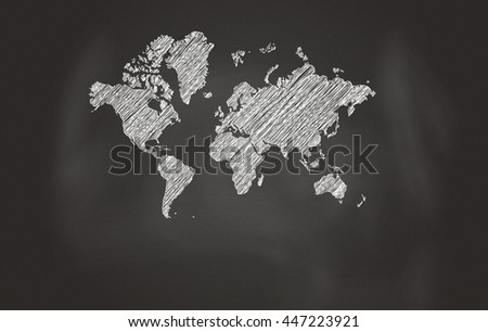 Sketch Of World Map Over Black Chalkboard - stock photo