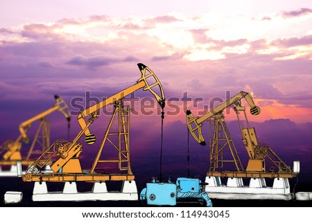 Sketch oil pump working - stock photo