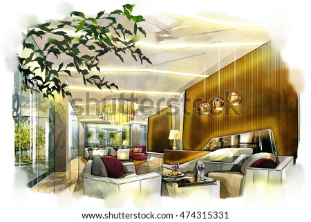 sketch perspective interior design. sketches painting to watercolors.