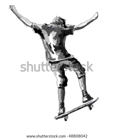 sketch skateboard jumping teenager - stock photo