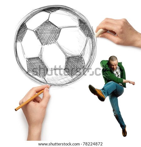 sketch soccer football ball and male isolated on white background