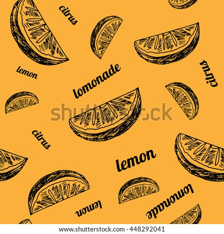 Sketch style background. Hand drawn lemonade seamless pattern on orange background with words.