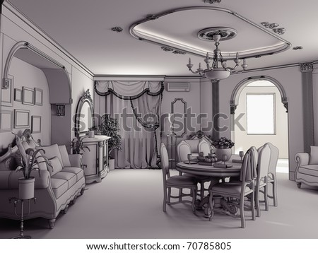 sketch style classic interior illustration (stage of interior indoor project) - stock photo
