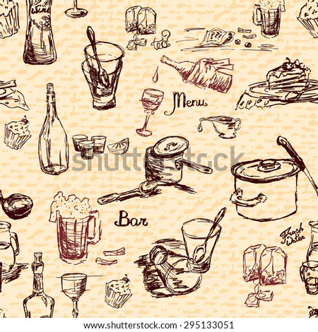 Sketch style seamless pattern with beverage and cook utensils, raster illustration for business print design