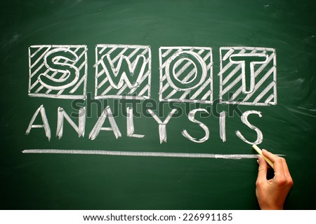 Sketch Swot Business Infographic on blackbord with hand - stock photo