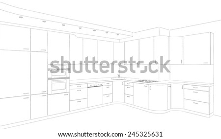 Sketch, the kitchen modern design project  - stock photo