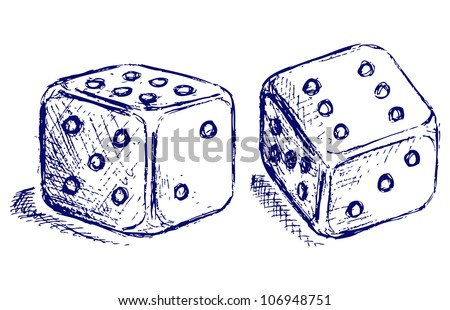Sketch two dices. Raster - stock photo
