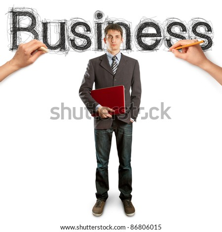sketch word business with businessman and pen?il