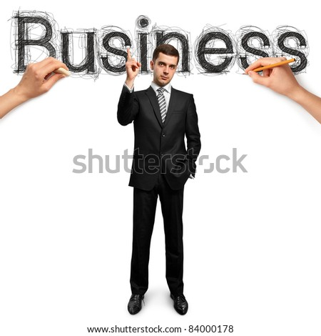 sketch word business with businessman and pencil