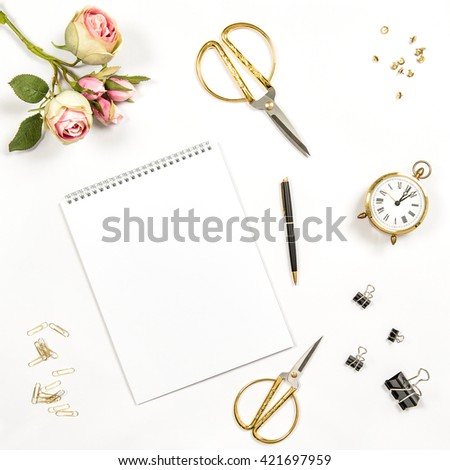 Sketchbook, flowers, office tools and accessories. Flat lay notebook, top view - stock photo