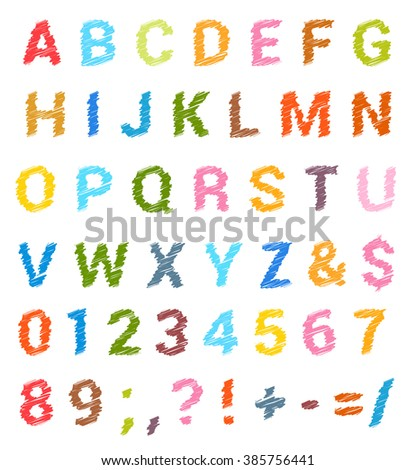Sketched alphabet set. Capital letters and numbers. raster