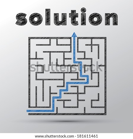Sketched concept of finding solution in complicated maze. - stock photo