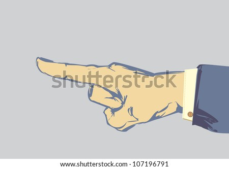 Sketched hand and finger pointing with suit jacket and shirt sleeve