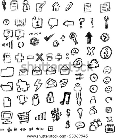 sketched icons - stock photo