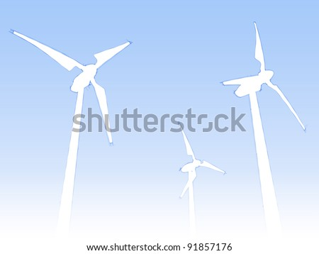 Sketched wind turbines on a blue background, representing notions such as green technologies, sustainable development, alternative energy sources as well as respect of the environment - stock photo