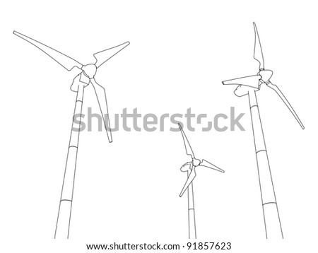 Sketched wind turbines on a white background, representing notions such as green technologies, sustainable development, alternative energy sources as well as respect of the environment - stock photo