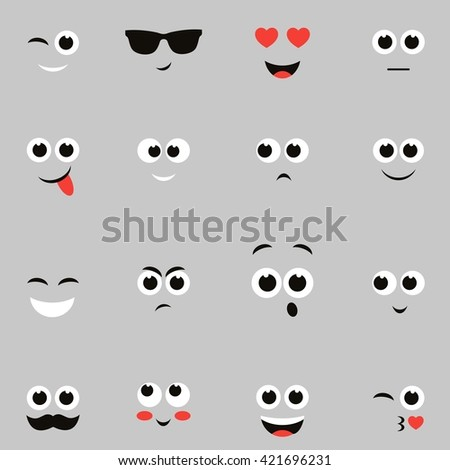 sketches of funny smiley faces. Raster version