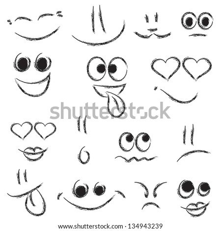 Sketches of smiley faces. Raster version - stock photo