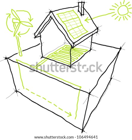 Sketches of sources of renewable energy (wind turbine, solar/photovoltaic panel, heat/thermal pump) over a simple house drawing - stock photo