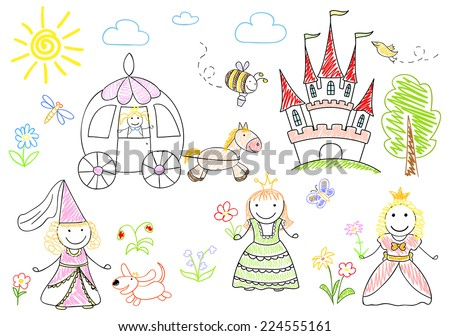 Sketches with happy little princesses - stock photo