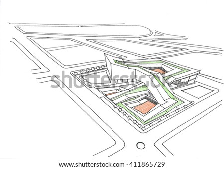 sketching and design - conceptual design of the administrative tower - mobius - stock photo