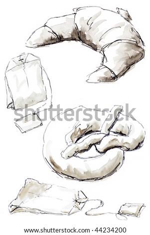 sketching at breakfast - stock photo