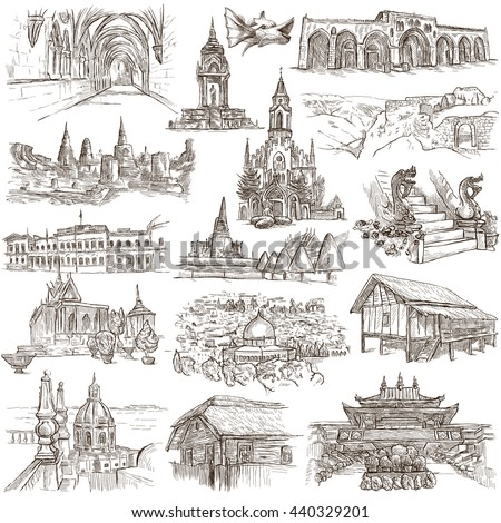 Sketching, FAMOUS PLACES AND ARCHITECTURE. Set of People and Natives. Collection of an hand drawn illustrations. Pack of full sized hand drawn illustrations, original freehand sketches. - stock photo