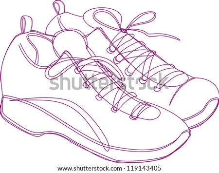 Sketching of a pair of sneakers in purple lines. - stock photo