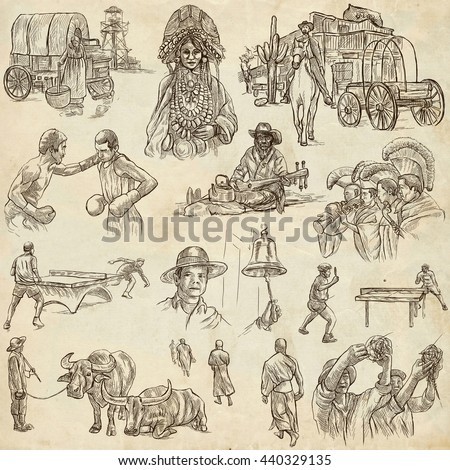 Sketching, UNITED COLORS OF HUMAN RACE. Set of People and Natives. Collection of an hand drawn illustrations. Pack of full sized hand drawn illustrations, original freehand sketches.