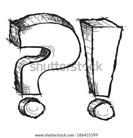 Sketchy hand drawn question and exclamation marks isolated - stock photo