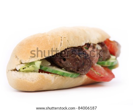 Skewer french baguette - stock photo