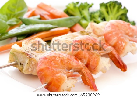 Skewer with Red Snapper and Shrimp
