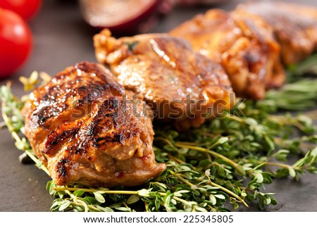 Skewered Pork with Vegetables and Rosemary - stock photo