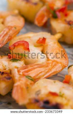 Skewered Tiger Prawns
