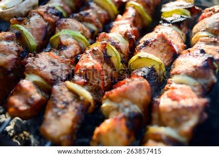 Spit roasted stock images royalty free images vectors - Como preparar pinchos de pollo ...