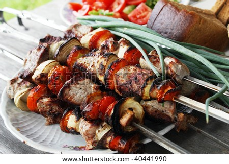 Skewers with a shish kebab - stock photo