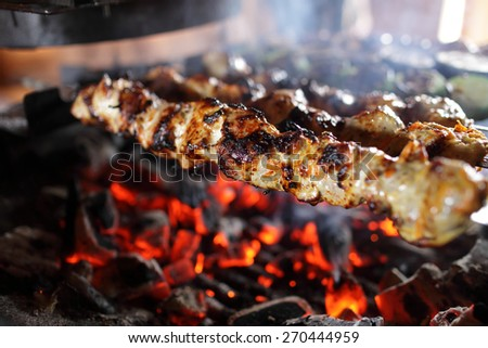 Skewers with meat on the barbecue grill - stock photo