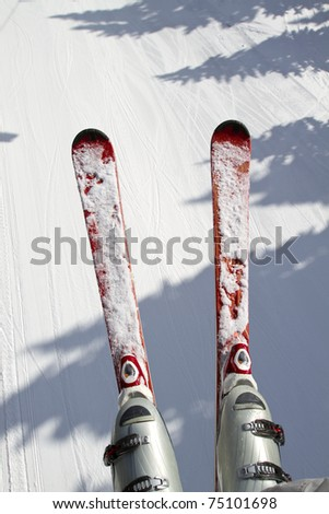 ski and snow background view - stock photo