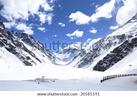 Ski area with sunny and snow in chile - stock photo