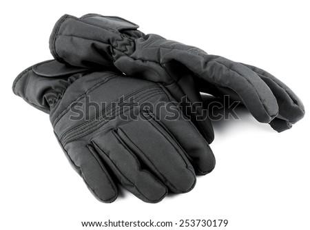 Ski black gloves isolated on white background - stock photo