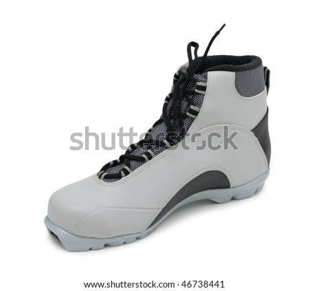 Ski boot, isolated on a white background - stock photo