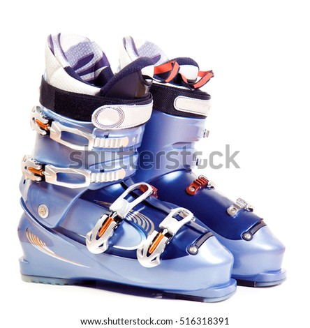 Ski boots. Isolate on white.